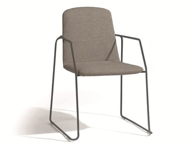 Stackable fabric garden chair with armrests LOOP | Chair with armrests