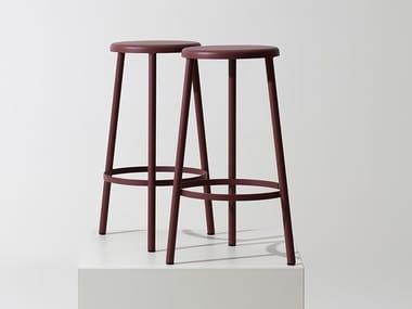 Metal office stool with footrest LOOP