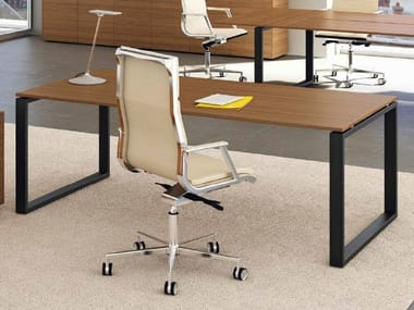 Aluminium and wood executive desk LOOPY | Executive desk