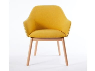 Fabric chair with armrests and beech legs LORD | Chair