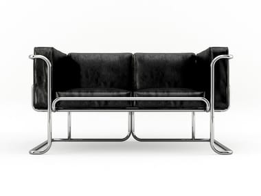 Leather sofa with aluminum structure LOTUS | 2 seater sofa