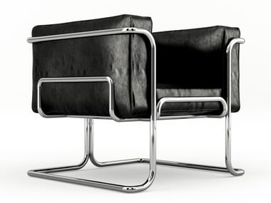 Leather armchair with aluminum structure LOTUS | Armchair