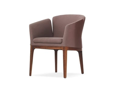 Upholstered fabric chair with armrests LOTUS M