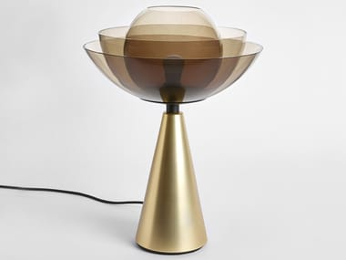 Lampada da tavolo in ferro e vetro LOTUS METAL