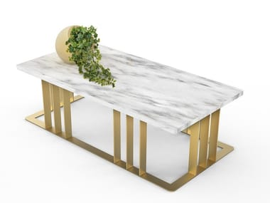 Carrara marble coffee table with flowerpot LOUIS
