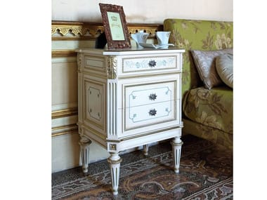 Rectangular wooden bedside table with drawers LOUIS XVI | Bedside table