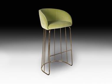 Upholstered velvet stool with back LOUISE