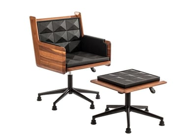 Leather easy chair with 5-spoke base LOUNGE CHAIR