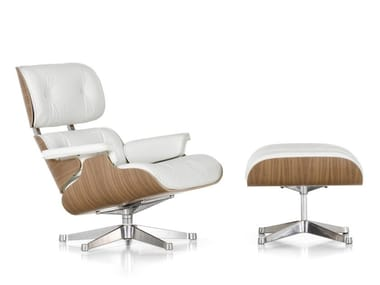 Swivel leather armchair with 5-spoke base with armrests LOUNGE CHAIR WHITE VERSION
