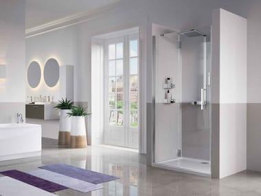 Box doccia angolare rettangolare in vetro con porta a battente LOUVRE | G