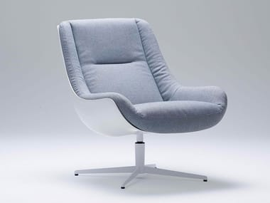 Fabric armchair with 4-spoke base with armrests LOVEBIRD | Fabric armchair