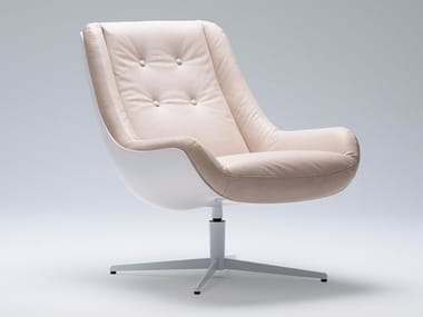 Leather armchair with 4-spoke base with armrests LOVEBIRD | Leather armchair