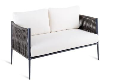 Sofá de jardín de tejido sintético con funda extraíble LUCE | Sofá de jardín