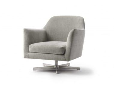 Swivel fabric armchair with armrests LUCE   Swivel armchair