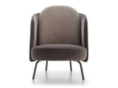 Upholstered fabric armchair LUCIA