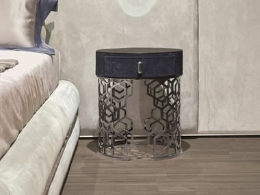 Round bedside table with drawers LUCY
