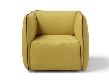 Swivel fabric armchair with armrests LUDO