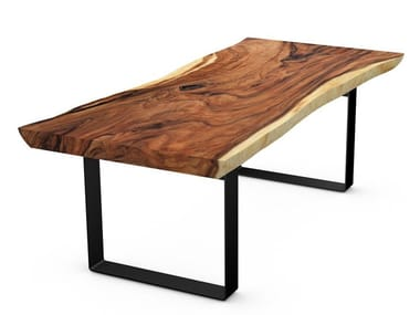 Table with Suar wood top and steel frame LUGANO