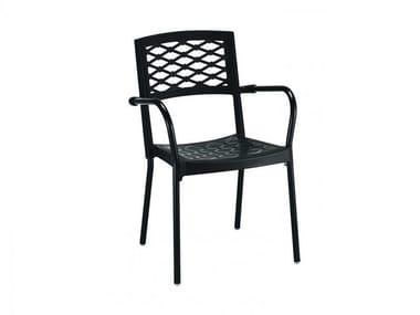 Sedia impilabile in poliestere con braccioli LULA | Sedia impilabile