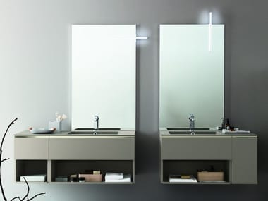 Rectangular wall-mounted mirror with integrated lighting LUMI