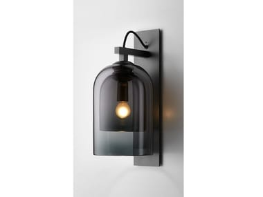 Glass and steel wall lamp LUMI | Wall light