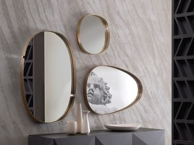 Wall-mounted framed metal mirror LUMIERE | Mirror