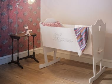 Lacquered rocking plywood cradle LUNA