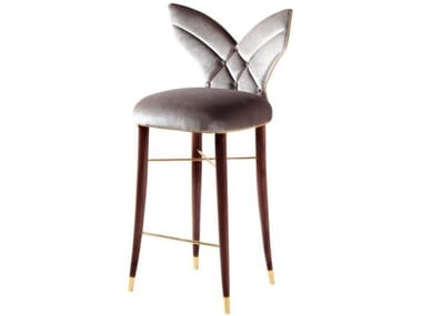 High upholstered velvet stool with back LUNA | Stool with back