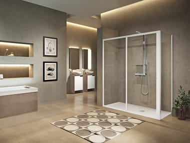 Corner shower cabin with sliding door LUNES 2.0 2P