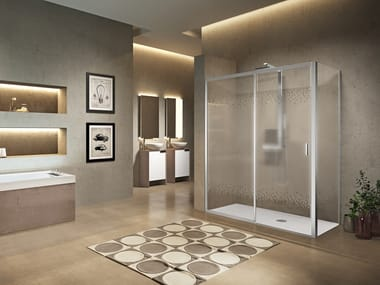 Corner shower cabin with sliding door LUNES 2.0 2PH
