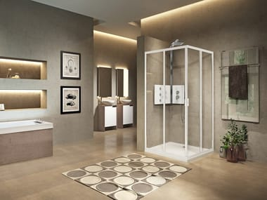 Corner shower cabin with sliding door LUNES 2.0 A