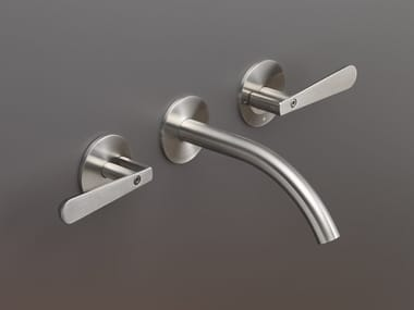3 hole wall-mounted stainless steel washbasin tap LUTEZIA 02