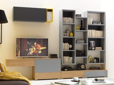 Sectional wooden TV wall system LV105 | Storage wall