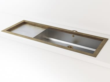 Single built-in brushed steel sink with drainer LVQ032 | Sink
