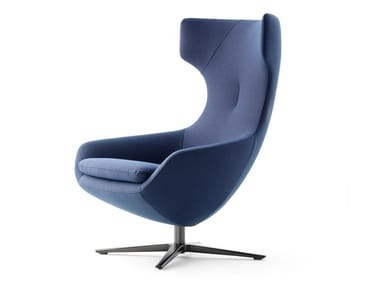 Swivel fabric armchair with 4-spoke base LX662 | Armchair with 4-spoke base