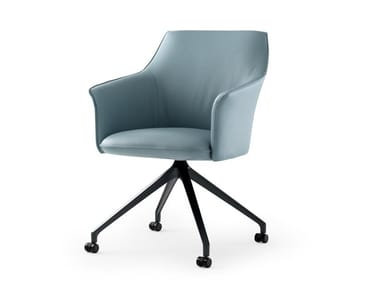 Swivel leather chair with castors LX671 | Chair with castors