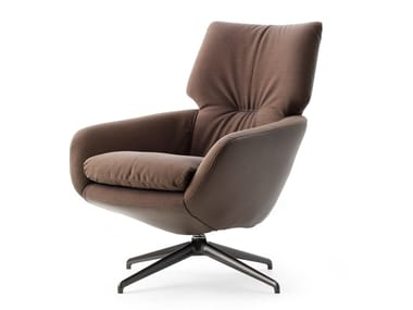 Swivel fabric armchair with 4-spoke base LX694 | Fabric armchair