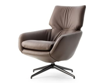 Swivel leather armchair with 4-spoke base LX694 | Leather armchair