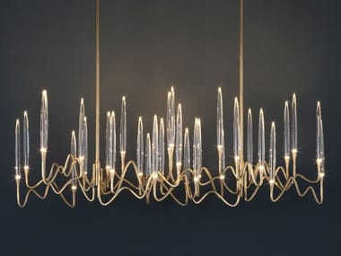 LED brass pendant lamp IL PEZZO 3 | Long Chandelier