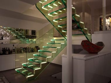 U-shaped LED glass Open staircase LONDRA | Open staircase