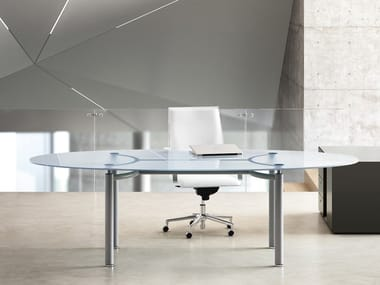Oval crystal workstation desk MÈTA | Crystal office desk