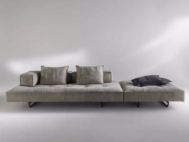 Sled base sectional 4 seater nabuk sofa M1 | 4 seater sofa