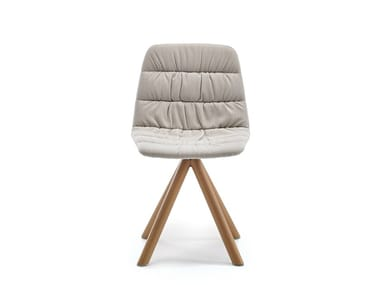 Swivel upholstered trestle-based chair MAARTEN | Trestle-based chair