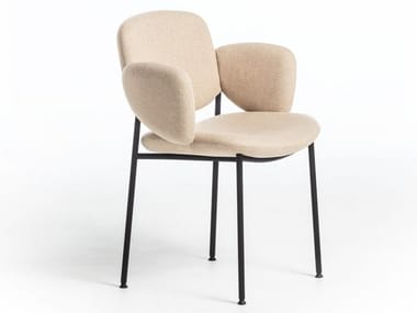 Upholstered fabric chair with armrests MACKA | Fabric chair