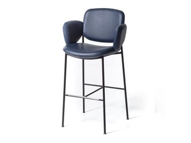 High leather stool MACKA ST | Leather stool