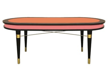 Lacquered oval solid wood dining table MADAGASCAR
