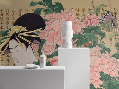 Wallpaper with floral pattern with textile effect MADAME B.