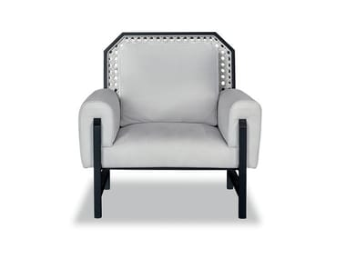 Leather armchair with armrests MADAME