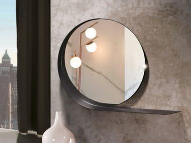 Espelho redondo de metal com pintura de parede com prateleira MADAME