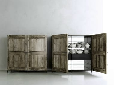 Solid wood highboard with doors MADIA